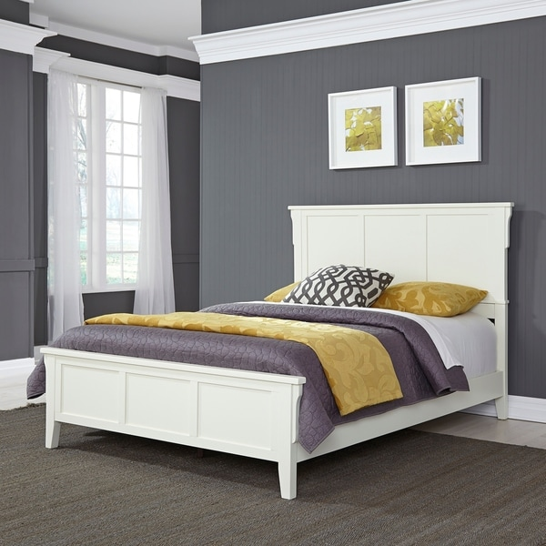 Home Style Arts Crafts White Wood Queen Bed