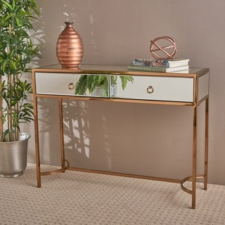 Arthur Modern Mirrored 2-drawer Console Table by Christopher Knight Home