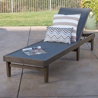Summerland Outdoor Acacia Wood Mesh Chaise Lounge by Christopher Knight Home (2 options available)