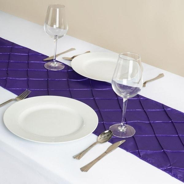 Pintuck Table Runner Wedding Party Banquet 12 X 108 Purple