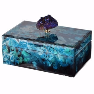 Alluring Jewelry Case With Stone Knob, Blue