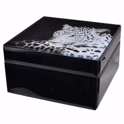 Gorgeous Cheetah Print MDF and Glass Jewelry Case, Black
