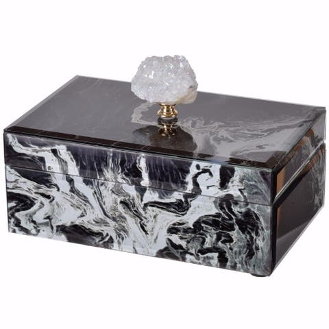 Dramatically Slick Marbled Jewelry Case, Black and White
