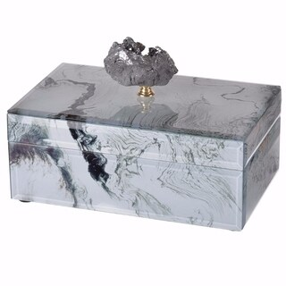 Sensationally Marbled Jewelry Case, Gray and White