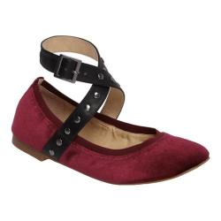 Women's Charles by Charles David Dean Strap Flat Cabernet/Black Velvet/Smooth