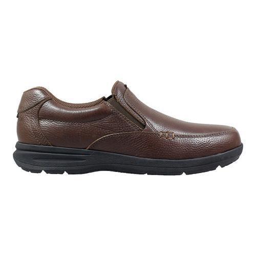 Men's Nunn Bush Cam Moc Toe Slip On Brown Tumbled Leather
