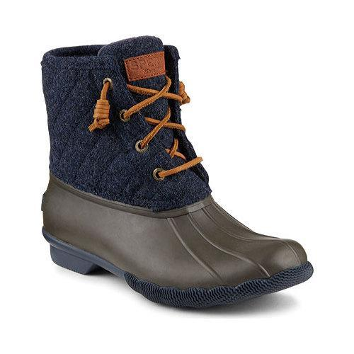 Women's Sperry Top-Sider Saltwater Duck Boot Tobacco/Navy Rubber/Quilted  Wool - Free Shipping Today - Overstock.com - 23836972