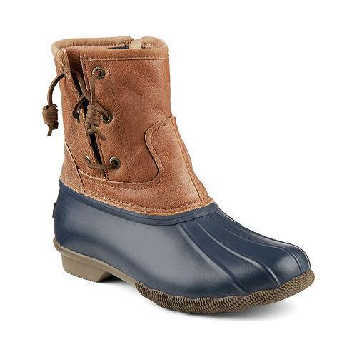 3675384cd058 Shop Women s Sperry Top-Sider Saltwater Pearl Duck Boot Navy Tan Rubber Canvas Leather  - Free Shipping Today - Overstock - 17621133