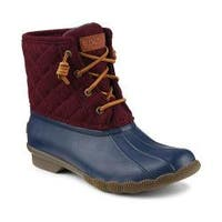 Women's Sperry Top-Sider Saltwater Duck Boot Navy/Maroon Rubber/Quilted Wool