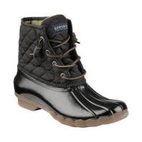 Women's Sperry Top-Sider Saltwater Duck Boot Black Quilted Nylon