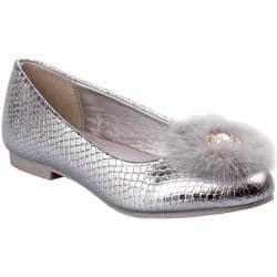 Girls Nanette Lepore NL24962M Pom Pom Ballet Flat Silver Snake