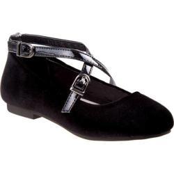 Girls' Nanette Lepore NL24990M Criss Cross Ballerina Flat Black Velvet