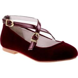 Girls' Nanette Lepore NL24990M Criss Cross Ballerina Flat Burgundy Velvet