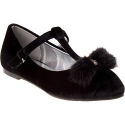 Girls' Nanette Lepore NL55290M T-Strap Pom Pom Flat Black Velvet