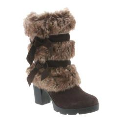 Women's Bearpaw Bridget Mid Calf Boot Chocolate II Suede/Faux Rabbit Fur