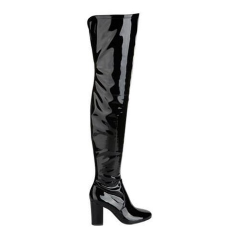Women's Kenneth Cole New York Angelica Thigh High Boot Black Stretch Patent Polyurethane