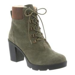 Women's Bearpaw Marlowe Lace-Up Ankle Boot Olive Suede