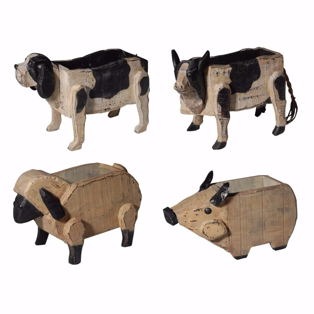 Benzara Chic Poplar Wood Barnyard Animal Planters, Set of...