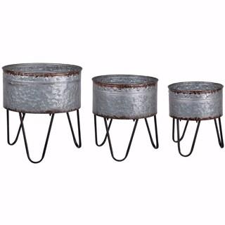 Preferable Planters Set of 3 Acoma Galvanized Metal Tubs