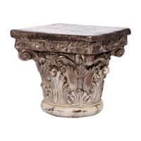 Antique Corinthian Cap Pedestal, White And Brown