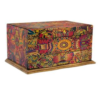 Handmade Pinewood 'Huichol Enchantment' Decoupage Jewelry Box (Mexico)