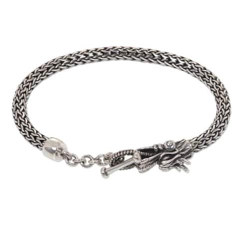 Handmade Sterling Silver 'Dragon Tale' Bracelet (Indonesia)