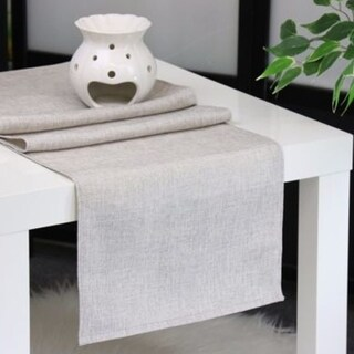 Aiking Home Natural Faux Linen Unlined Table Runner-Size 12''x 62'' Light Grey