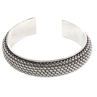 Handmade Sterling Silver 'Woven Paths' Bracelet (Indonesia)