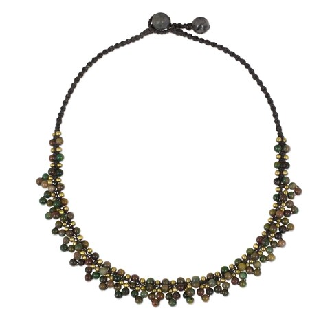 Handmade Brass 'Rainforest Horizon' Jasper Necklace (Thailand)