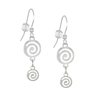 Jewelry by Dawn Bright Silver Plated Double Swirl Drop Earrings