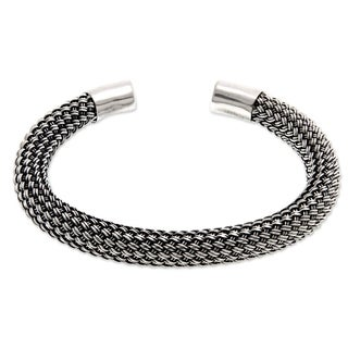 Handmade Sterling Silver 'Interwoven' Bracelet (Indonesia)