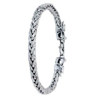 Handmade Men's Sterling Silver 'Brave Nagas' Bracelet (Thailand)