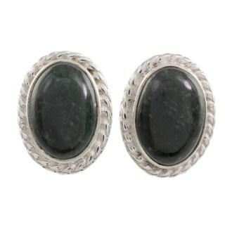 Handmade Sterling Silver 'Dark Mystique' Jade Earrings (Guatemala)