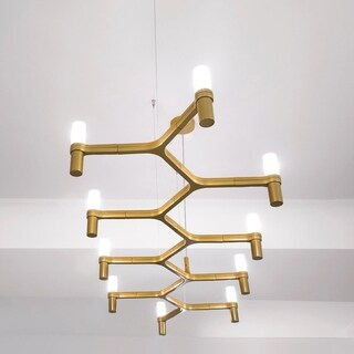 Tira Goldtone Metal and Glass 69-inch Staggered Pendant Lamp