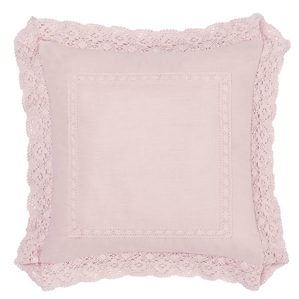 Laura Ashley Annabella Blush Crochet Throw Pillow