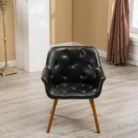 Carson Carrington Hvalvik Faux Leather Diamond Tufted Bucket Style Accent Chair