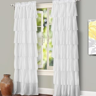 "DriftAway Ruffle Layer Panel, Rod Pocket, Window Curtain Panel - 52"" wide x 84"" long"