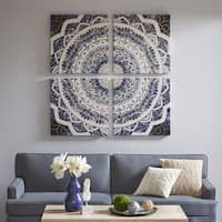 Madison Park Boho Medallion Blue Gel Coat Canvas 4PC Set
