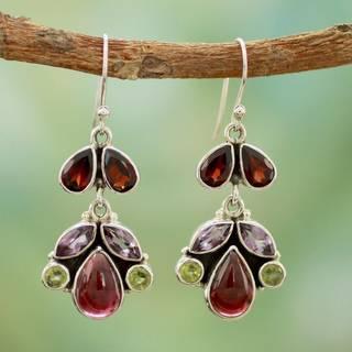 Link to Handmade Sterling Silver 'Elegance' Multi-gemstone Earrings (India) Similar Items in Earrings