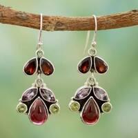 Handmade Sterling Silver 'Elegance' Multi-gemstone Earrings (India)