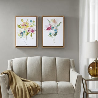 Madison Park Bloom Bouquet Multi Framed Canvas with Gel Coat 2PC Set