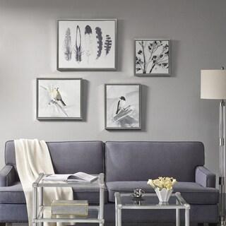 Madison Park Plume Grey Gel Coat Framed Canvas With Hand Embellishment 4PC Set