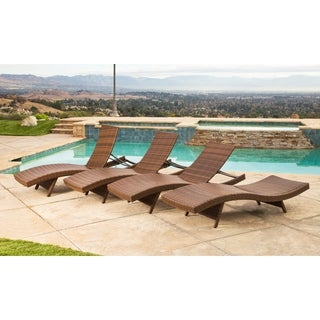 Abbyson Palermo Outdoor Brown Wicker Chaise Lounge Set of 4