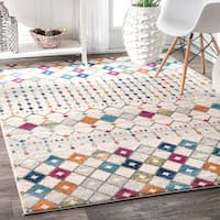 nuLOOM Geometric Moroccan Beads Trellis Fancy Multi Rug (9' x 12') - 9' x 12'