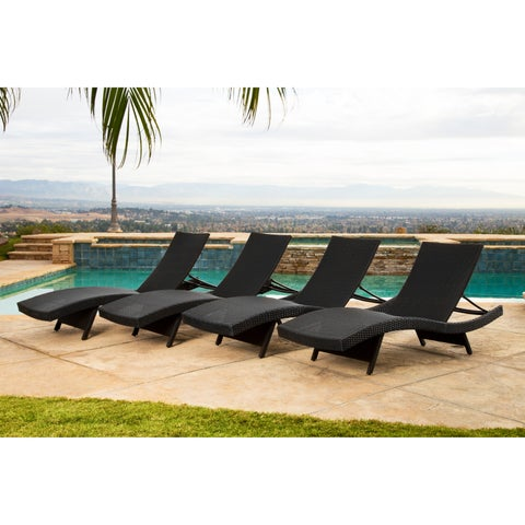 Abbyson Palermo Outdoor Black Wicker Chaise Lounge Set of 4