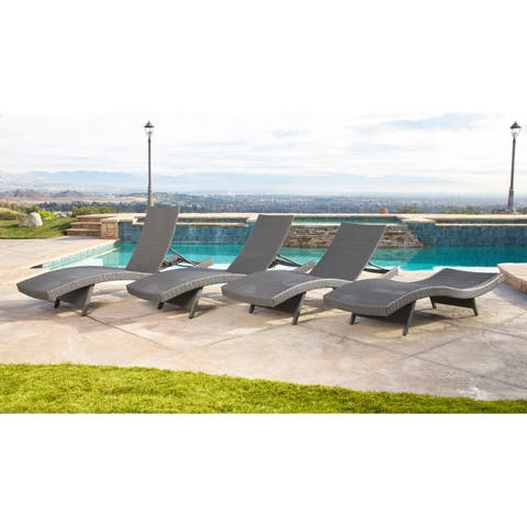 Abbyson Palermo Outdoor Grey Wicker Chaise Lounge (Set of 4)