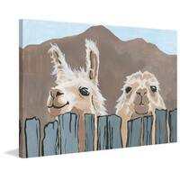 'Peekaboo Llamas' Painting Print on Wrapped Canvas