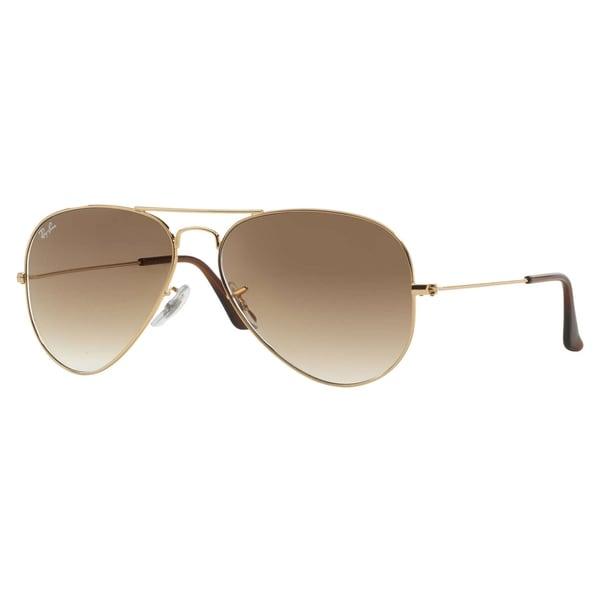 62435b7592 Shop Ray-Ban Aviator Gradient Sunglasses Gold  Light Brown Gradient ...