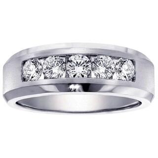 Platinum Men S 1ct TDW Channel Diamond Wedding Ring
