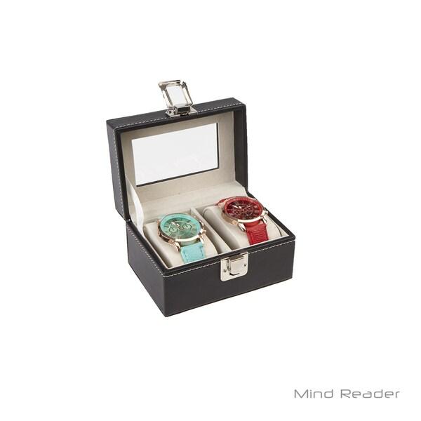Mind Reader 2 Compartment Watch Box Holder, Black
